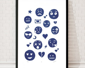 "Fine Art Print ""Emojis"" (Delft Blue) A2 size - FREE Worldwide Shipping"