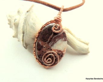 Jasper and Copper Wire Wrapped Pendant, Native Style, Handcrafted Pendant, Chocolate and Copper