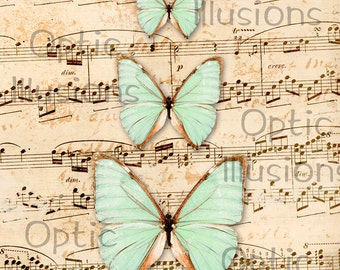 Shabby Butterflies & Vintage Sheet Music  - Printable Picture - Wall Print - 8.5 X 11 Inches - INSTANT DOWNLOAD