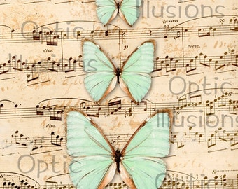 Shabby Butterflies & Vintage Sheet Music  - Printable Picture - Wall Print - 8.5 X 11 Inches - INSTANT DOWNLOAD - 3.00