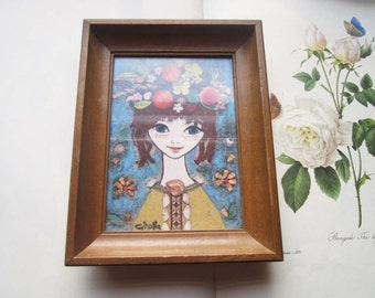 Vintage Print * Framed French Girl * Teen * Vintage Kids * Ginofla Print * Retro Illustration * Wood Frame * Bohemian Girl *