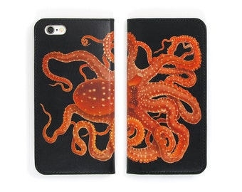 Leather iPhone 7 case, iPhone 6s Case, iPhone 6s Plus Case - Octopus