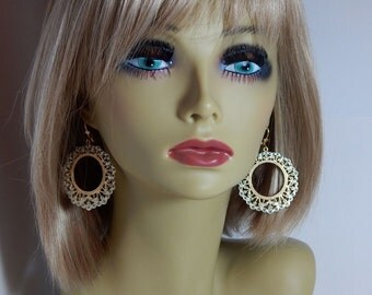 Estate Hoop Earrings Vintage 1980 Boho Chic Leverback Earrings Turquoise & Gold