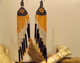 Native American inspiredBeadwork EarringsWoven Bead Work Earrings, Native American Jewelry, Seed Bead , Woven Bead Earrings, Healing Jewelry