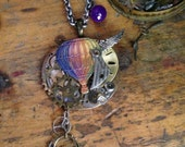 Hot Air Balloon Winged Gear Steampunk Necklace