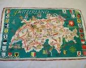 Switzerland Souvenir, tourist souvenir, Switzerland Towel, Vintage kitchen towel from Switzerland. , Souvenir towel,
