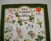 Vintage Towel, Tea Towel, Cotton Tea Towel, Wild Flowers, COTSWORLDS England, Wild Flowers of the COTSWORLDS,  Vintage Kitchen