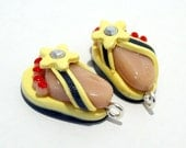 Flip Flops - Handmade Polymer Clay CHARMS with Feet