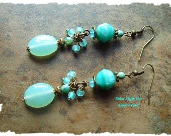 Boho Vintage Glass Earrings, Bohemian Jewelry, Beaded Dangle Earrings, Aqua Turquoise Earrings, Boho Style Me, Kaye Kraus