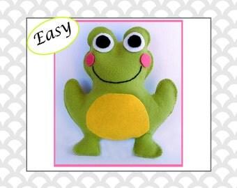 Frog Sewing Pattern, Felt Frog Pattern, Frog Plushie, Frog Softie,  Frog Stuffed Animal Hand Sewing Pattern, Plushie Tutorial PDF JB101