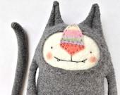 Stuffed Animal Cat Upcycled Sweater Merino Grey Felted Wool