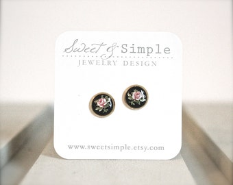 Tiny vintage black floral cameo posts earrings.  Pink rose in brass settings.  Vintage style shabby chic jewelry studs.