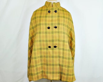 1960s Gold Plaid Cape - Double Breasted - Mandarin Collar