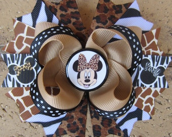 Minnie Mouse Safari Animal Print Hair bow Zebra Leopard Boutique Hair Bow for Animal Kingdom-choose a 5 inch hair bow or 2 pigtail bows