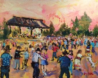 Original Southwest Impressionist Painting, Dancing at the Santa Fe Plaza, Russ Potak