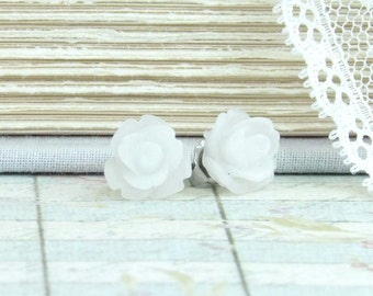 White Rose Stud Earrings White Flower Earrings White Rose Studs Hypoallergenic White Flower Studs