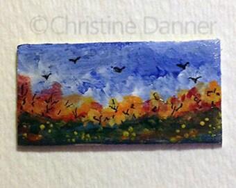 Tiny Miniature Dollhouse Art 3/4 x 1.5 inch Painting Autumn Landscape