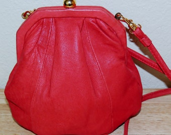 Small Red Leather Purse with Shoulder Strap
