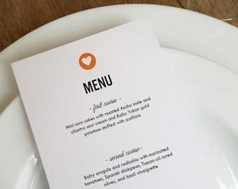 Simple Heart Black & Red Printable Menu Template - Wedding Menu - Printable Menu Template - Menu Template - Menu Cards - Printable Menu PDF
