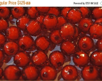 FALL CLEARANCE CLOSEOUT Sale - Faceted Round Fire Red Lucite Beads - 12mm - 10 pcs