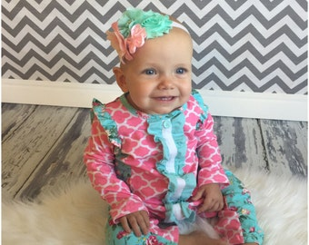 Baby Romper and floral headband. ON SALE.Ruffle romper..baby girl sleeper...romper... Hospital outfit