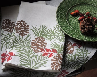 Christmas Pine Boughs linen cloth dinner napkins winter holiday home decor natural history hostess gift hand block printed set of 4