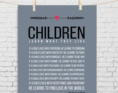 Inspirational parenting poem Children Learn What They Live Kitchen Decor Inspirational Sign Teacher gift Living Room Decor Family Home Decor