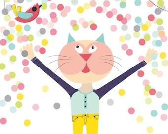 Cat & bird nursery art print - Confetti Nursery Art, Girl Nursery Decor, Kid Wall Art, baby nursery decor, nursery wall art, playroom decor