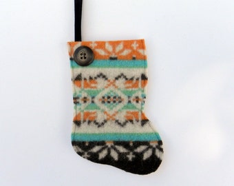 Rescued Wool Stocking Ornament - Gift Card Holder for Him - Recycled Christmas Ornament - Mini Stocking