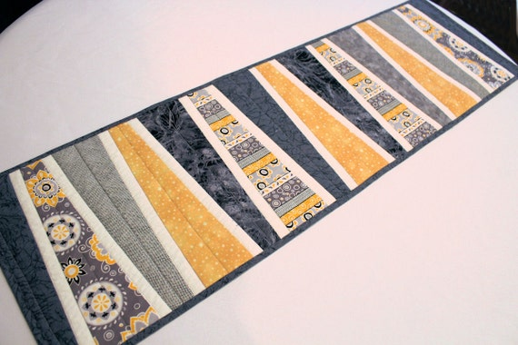 RESERVED for CAROLINE only - Custom Made Modern Bed Runner Quilt in Gray and Mustard Yellow