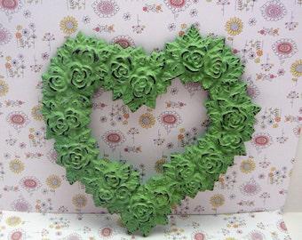 Rose Heart Ornate Decorative Cast Iron Wall Decor Plaque Pistachio Light Green Distressed Shabby Style Chic French Decor, Paris,