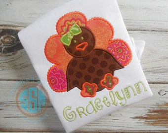 Simple Turkey Thanksgiving Applique Ruffle Shirt, Fall/Thanksgiving, Simply Turkey Day Collection, Thanksgiving Shirt