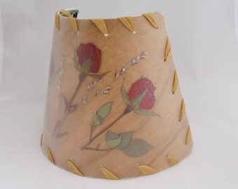 Veneer Rose Nightlight, Cherry Wood Night Light, Pressed Roses Flower Lampshade, Red Tea Rose, Rustic Home Log Cabin Lighting, Country Decor