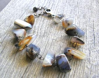 Chunky Brown Montana Agate Bracelet, Rustic Earthy Bracelet, Bold Statement Bracelet