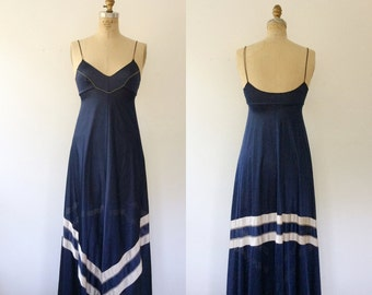 vintage lingerie / vintage nightgown / Navy lounging dress
