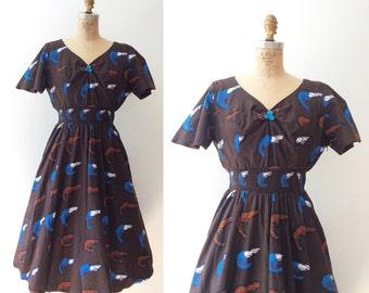 vintage cotton dress / Novelty print dress / Ebi Batik dress