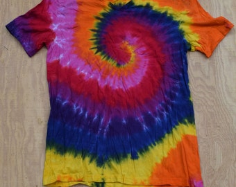 Dynamite Spiral Tie Dye V-neck T-Shirt (Bella Canvas Size XL) (One of a Kind)