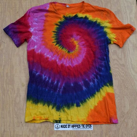 Dynamite Spiral Tie Dye V-neck T-Shirt (Bella Canvas Size XL) (One of a Kind)