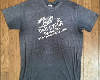 VINTAGE 70s BIKER t shirt faded thrashed t shirt HARLEY Davidson
