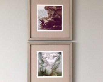 Fine Art Photography Set, Wall Decor Set of Two, Art Print Set, Wall Art Set of Prints, Mermaid & Triton Romantic Art for Bedroom, Beach Art