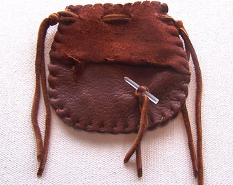 Beautiful Deerskin Medicine Bag ..Hand Pouch....RUST