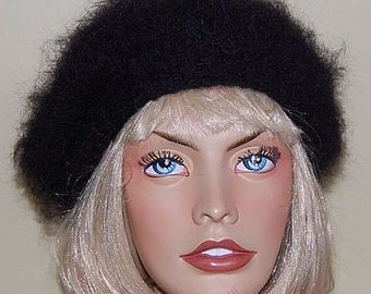 Fuzzy Mohair sweater TAM BERET Cap or Hat  hand knitted in Black for you by uniquemohair