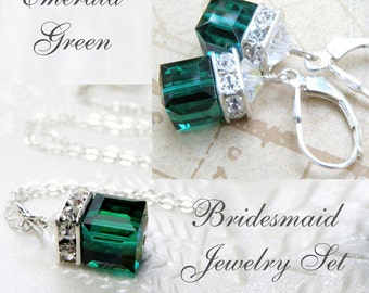Emerald Crystal Wedding Jewelry, Green Necklace and Earrings Bridesmaid Set, Bridal Party Gift, Swarovski Cube Sterling Silver, May Birthday