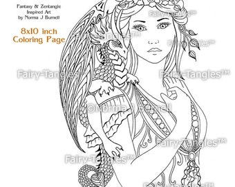 Fairy TanglesTM Coloring Sheets Digi Stamps By FairyTangleArt