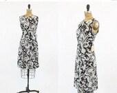 SALE 60s Dress Paisley Small / 1960s Vintage Deadstock Black Shift Dress / The Brigitte Dress