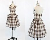 RESERVED 50s Dress Halter XS / 1950s Windowpane Plaid Cotton Dress / Picnic Rock Dress