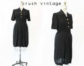 30s Rayon Crepe Dress Large  / 1930s Belted Dress  /  Corolle Collection Dress