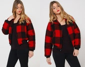 Vintage 60s WOOLRICH Jacket Buffalo PLAID Wool Lumberjack Jacket Cropped Check BOMBER Winter Outerwear