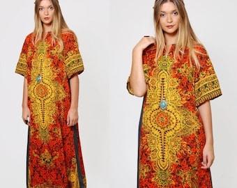 SALE Vintage 70s ETHNIC Caftan Orange Printed Hippie Maxi Dress TIBETAN Caftan Mandala Print Boho Dress