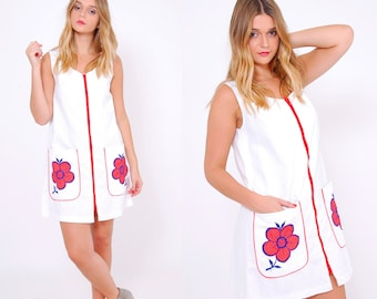 Vintage 60s Zip Front JUMPER Dress Novelty MOD Scooter Mini Dress FLORAL Tennis Dress